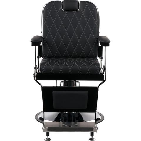 Ayala-Fotel Barberski LONDON Pikowana Tapicerka Czarna / Czarna Rama