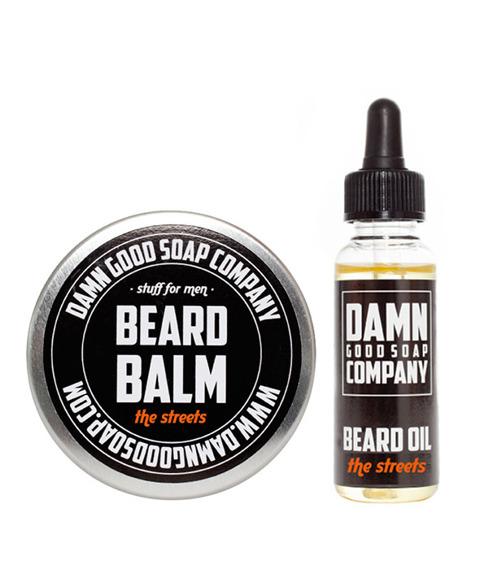 Damn Good Soap-Beard Balm & Oil The Streets Kit Zestaw Brodacza