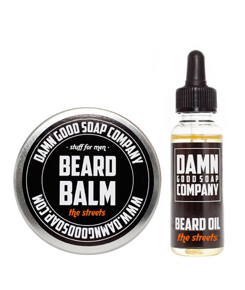 Damn Good Soap-Beard Balm & Oil The Streets Kit Zestaw brodacza